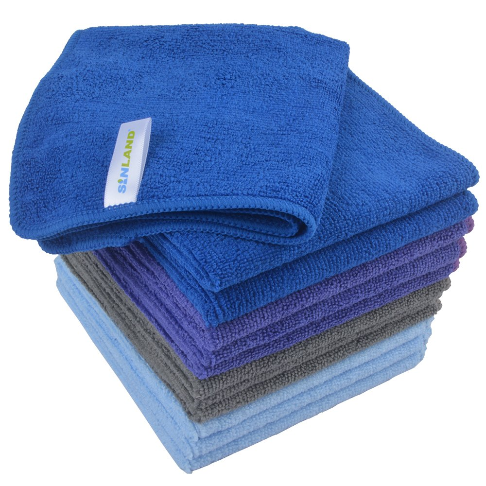 Sinland Absorbent Microfiber Dish Cloth Kitchen Streak Free Cleaning Cloth Dish Rags Lens Cloths 12inchx12inch 12 Pack 4 Colors Assorted