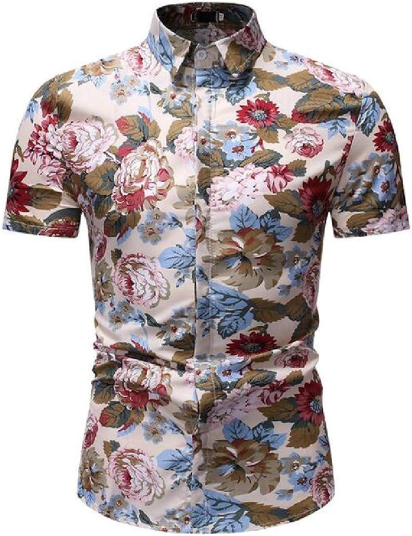 Zantt Men Lapel Neck Short Sleeve Regular Fit Casual Beach Printed Button Up Shirt