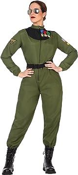 Atosa-50880 Disfraz mujer militar piloto, color verde, XL (50880 ...