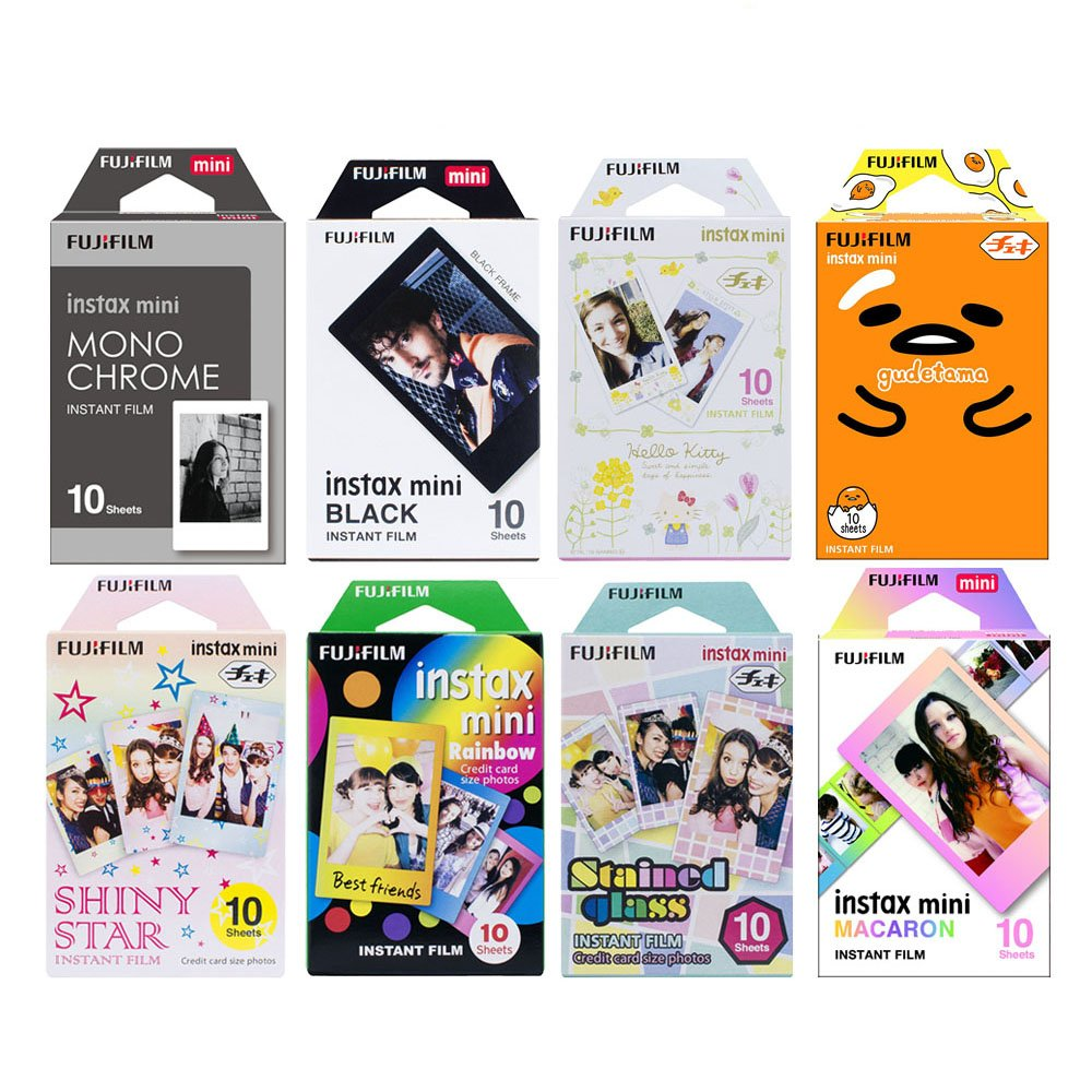 Fujifilm Instax Mini Instant Film 8-PACK SET , Monochrome , Gudetama , Kitty , Black , Shiny Star , Rainbow , Stained Glass , Macaron by FujiFilm