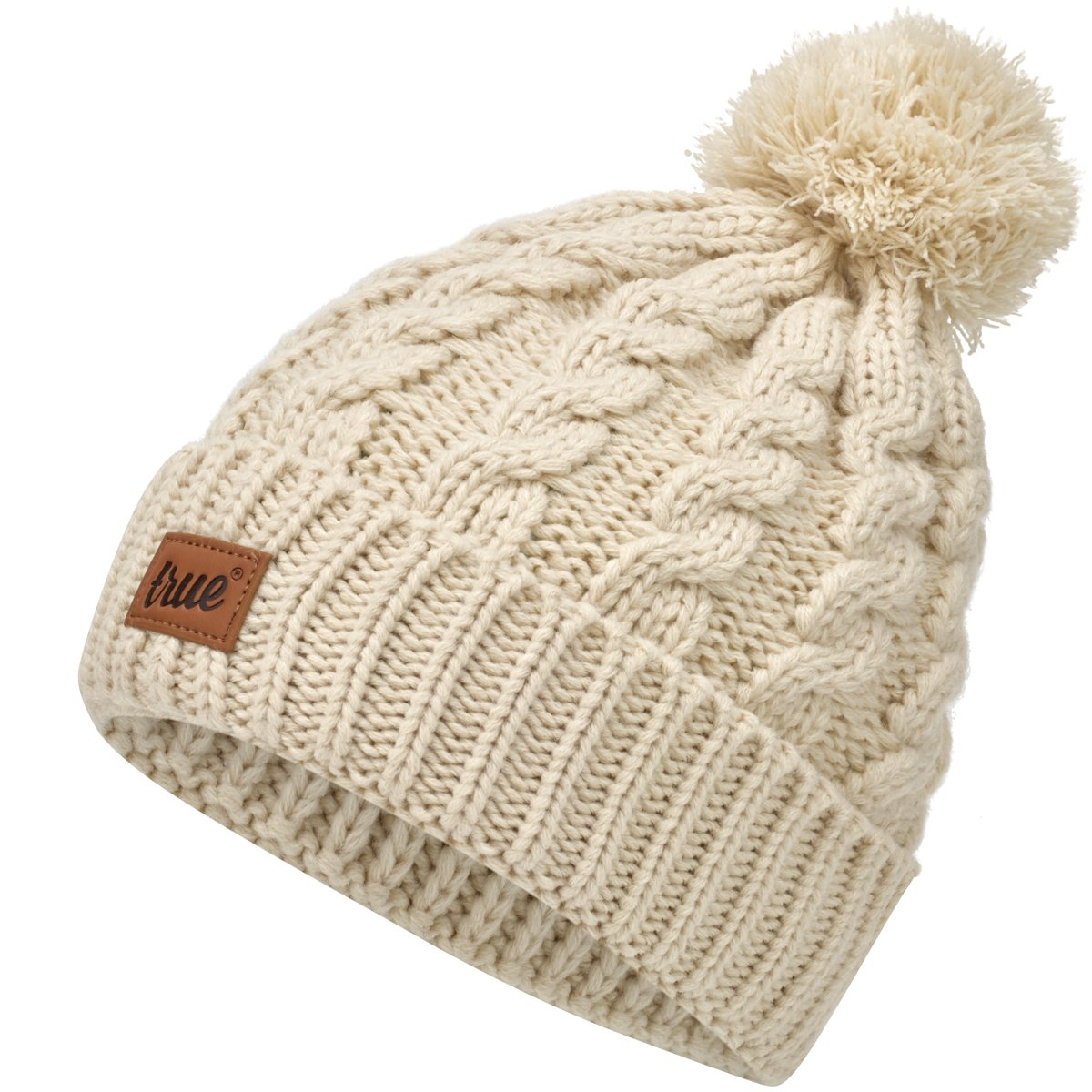 TRUE VISION Womens Beanie Hat - Cable Knitted Bobble Hat with 2 Detachable Poms. TRUECHUNKBLACK