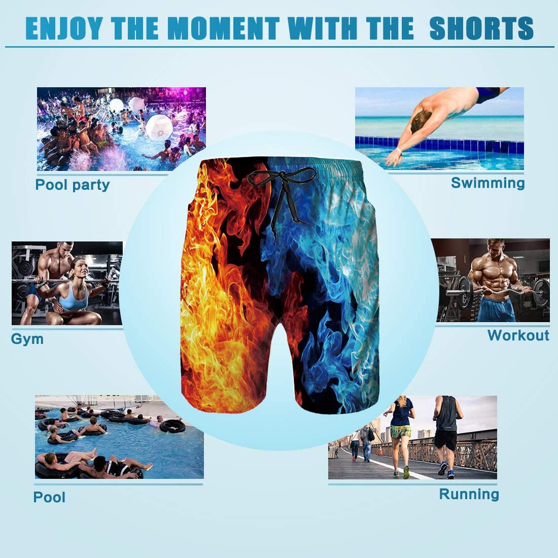 TUONROAD Mens 3D Printed Funny Swim Trunks Quick Dry Beachwear Sports Running Swim Board Shorts Mesh Lining