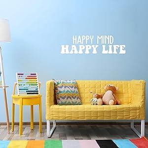 Vinyl Wall Art Decal - Happy Mind Happy Life - 10