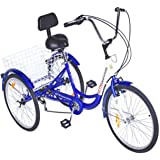 Popsport 24 Inch Adult Tricycle 6/7 Speed 3 Wheel Trike Cruise Bike Cruise Cargo Bike with Large Basket for Riding (Blue 7 Speed)