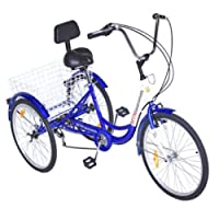 Popsport 24 Inch Adult Tricycle 6/7 Speed 3 Wheel Trike Cruise Bike Cruise  Cargo