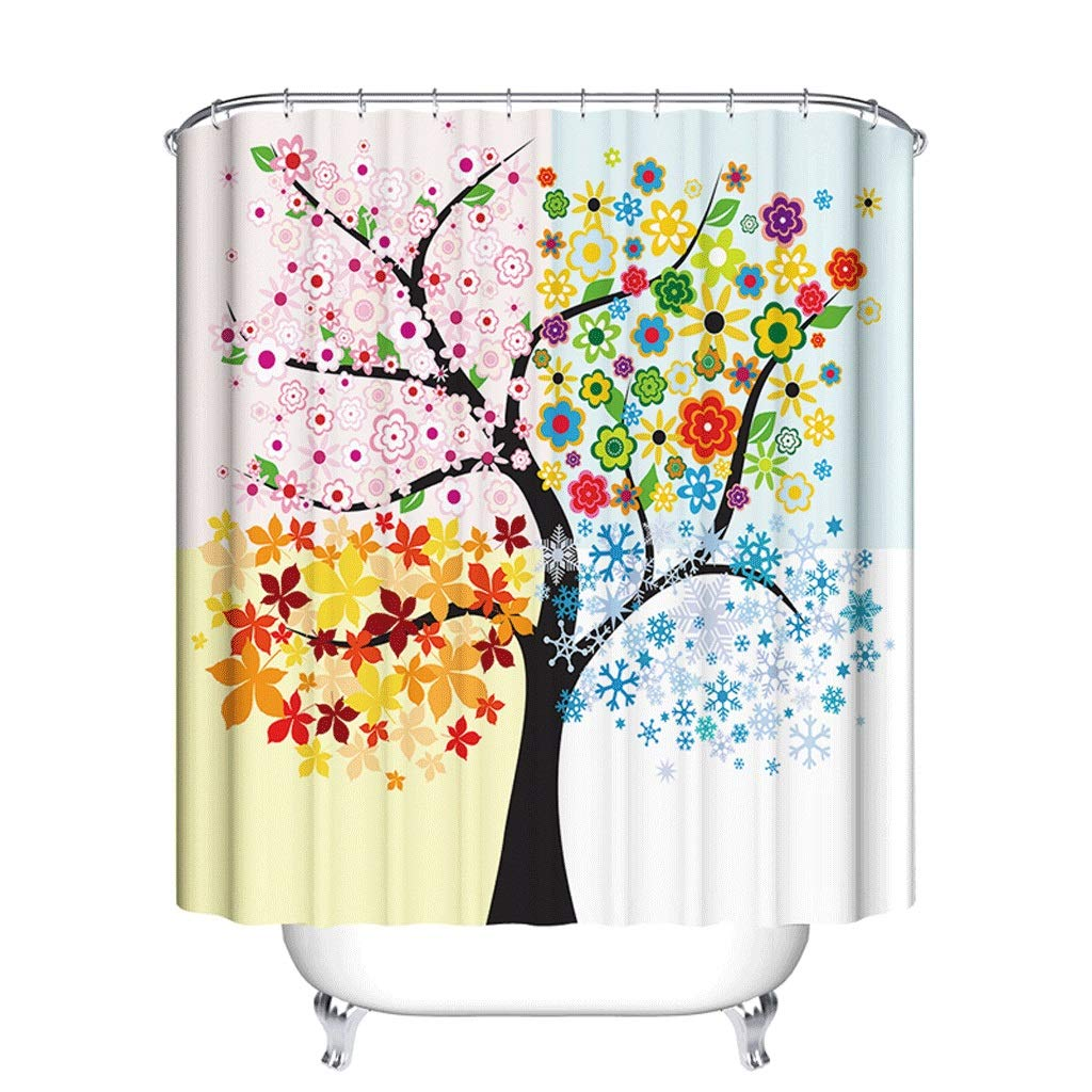 Curtain Plus Thick Creative Polyester Waterproof Shower Curtain Bathroom Toilet Shower Curtain Shower Equipment (Size : S)