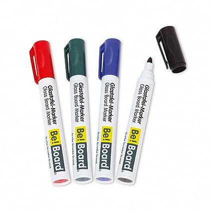 Sigel B3002 Rotuladores de pizarra de cristal / para pizarras magnéticas / para pizarras blancas y flipcharts-portabloc, punta redonda (2-3mm), 4 ...