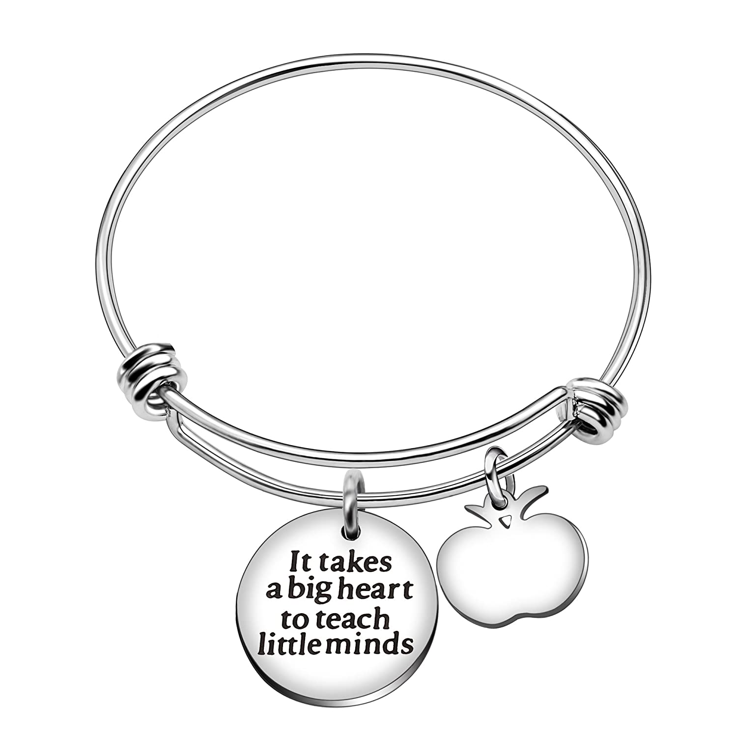 Style C AGR8T Teacher Bangle Christmas Inspirational Heart Pearls Pendant Gift It Takes a Big Heart to Teach Little Minds