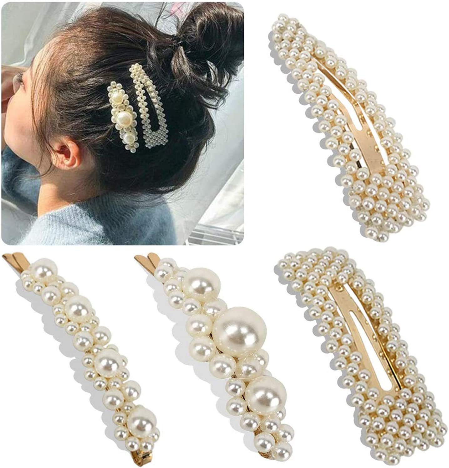 Gold or Silver UK Seller NEW Beautiful Faux Pearl Cat Hair Clip