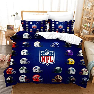 CLOVERDRESS 3D American Football Duvet Cover for Teen Boys Girls, Microfiber Comforter Cover Bedding Sets with Zipper Closure,Queen Size,3PCS,1 Duvet Cover+2 Pillow Shams (No Comforter) Style10 Twin: Home & Kitchen