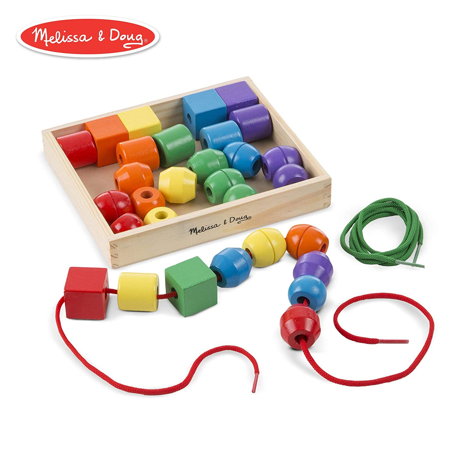 Melissa /& Doug 544 Primary Lacing Beads Educational Toy With 30 Wooden Beads and 2 Laces