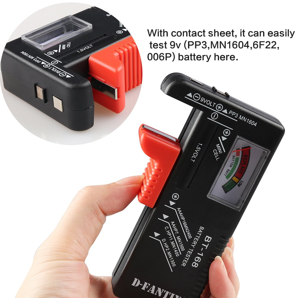 DFantiX Battery Tester Universal Battery Checker for AA AAA C D 9V 15V Button Cell Batteries Model