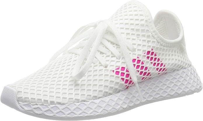 adidas Deerupt Runner Sneakers Fitnessschuhe Damen Herren Unisex Weiß m. rosa Streifen Größe 35 1/2 bis 40