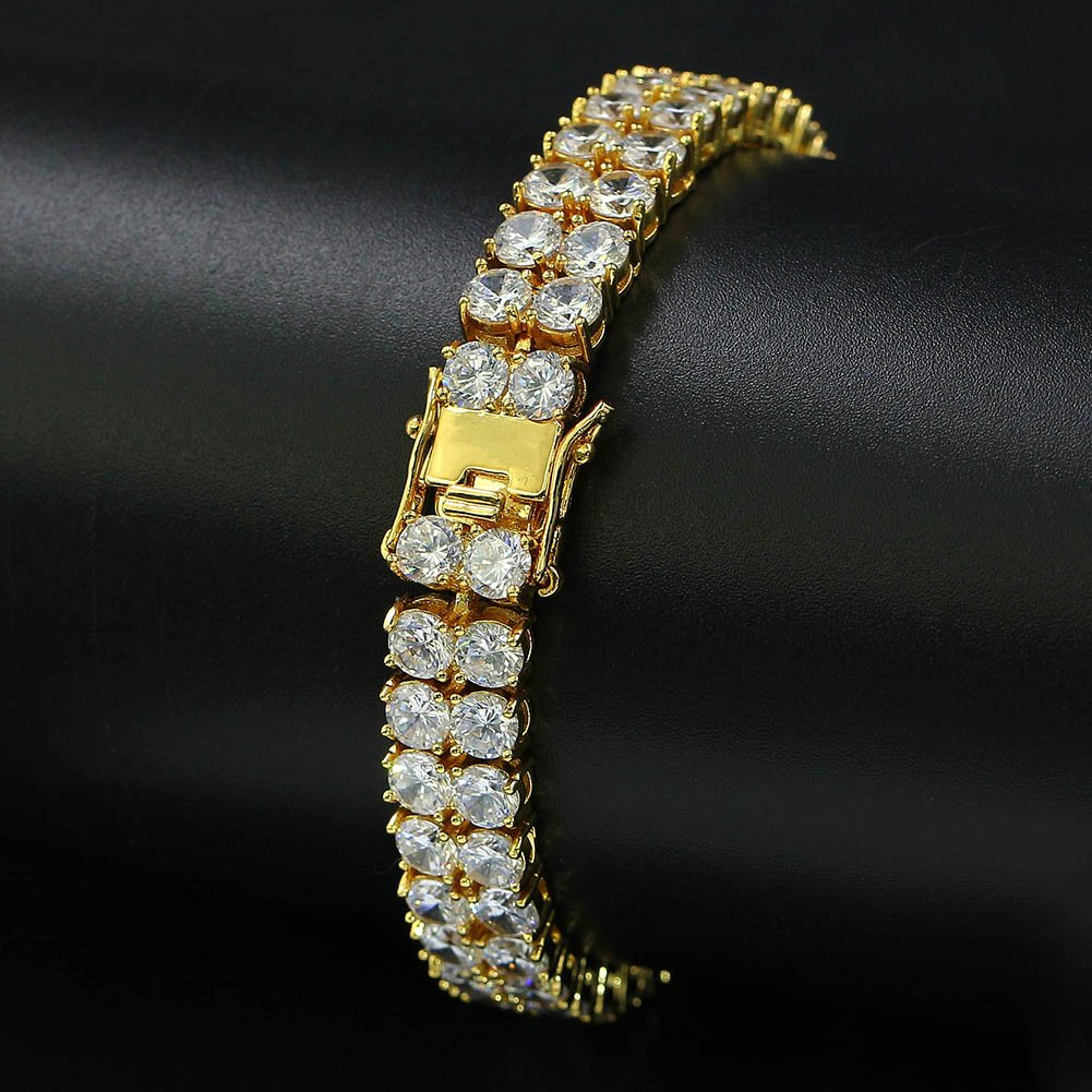 "JINAO 2 Rows AAA Gold Silver Iced Out Tennis Bling Lab Simulated Diamond Bracelet 8"" (Gold) by JINAO (Image #4)"