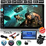 """Car Rear View Camera + CarcarTong 7"""" Double Din Touchscreen In Dash Stereo Car Receiver Audio Video Player Bluetooth FM Radio Mp3 / TF / USB / AUX-in / Steering wheel controls + Remote Control"""