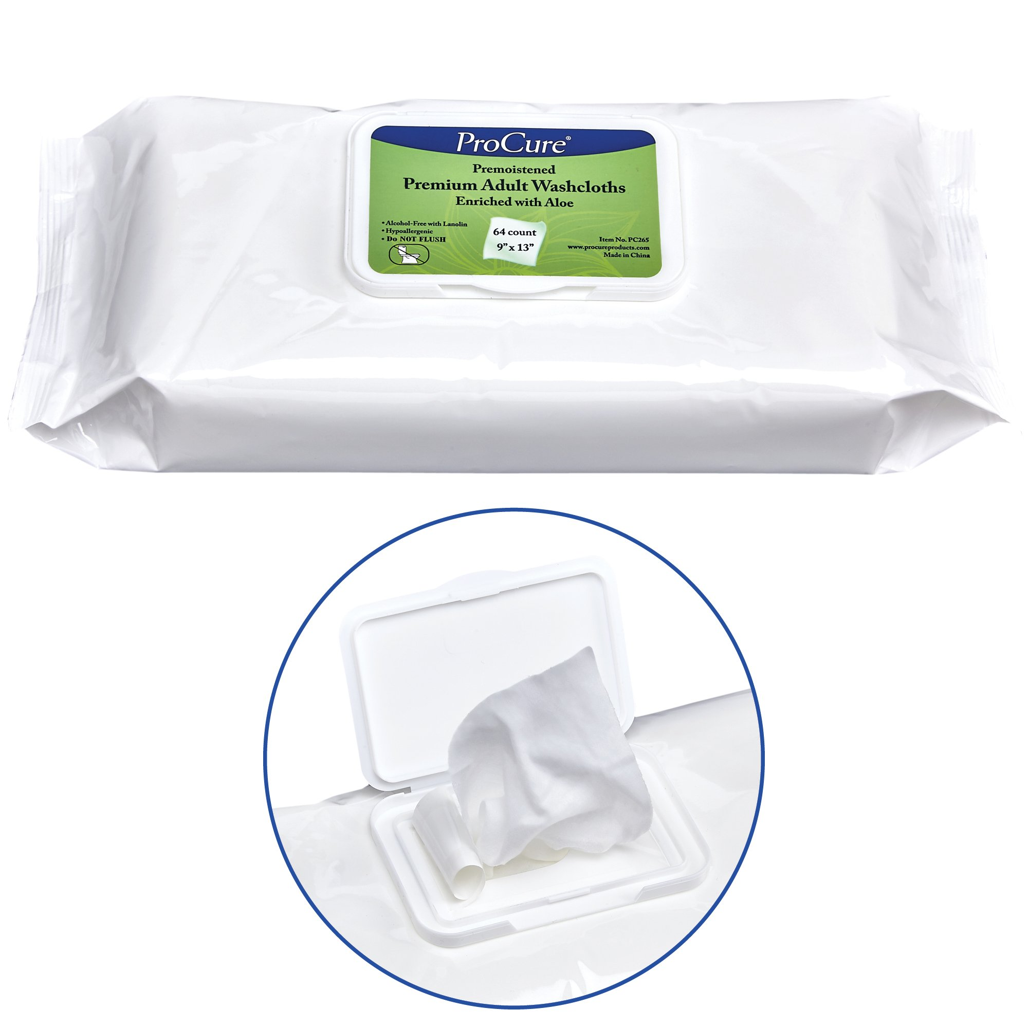 ProCure Disposable Adult Washcloths - 64 Count - Enriched with Aloe and Lanolin, Hypoallergenic and Alcohol Free - Premium Quality, Pre Moistened, Soft 9''x13'' Wet Wipes