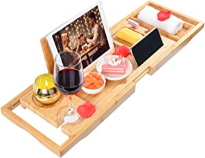 Bathtub Tray Bamboo Bathtub Caddy Tray Expandable with Book Holder for Luxury Bath, Organizer Bath Table-Holds Book, Wine, Phone, Ipad, Laptop (Natural-1)