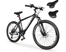 SIRDAR S-900 27 Speed 27.5 inch Mountain Bike Aluminum Alloy and High Carbon Steel with 2 Replaceable Seat, Full Suspension D