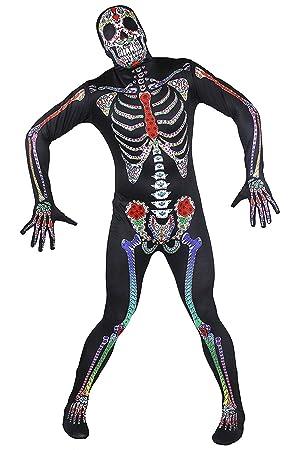 ILOVEFANCYDRESS Disfraz DE Esqueleto Cuerpo Completo Estilo Dia DE ...