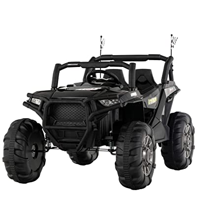 Uenjoy 12V Electric Ride on Cars, Realistic Off-Road UTV, Two Seater Ride On Truck, Motorized Vehicles for Kids, Remote Control, Music, 3 Speeds, Spring Suspension, LED Light (Black): Toys & Games [5Bkhe1200403]