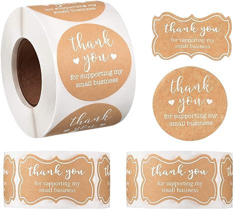 1000 Stück 2 Rollen Dankeschön Verpackung Versiegelung Aufkleber Runde
