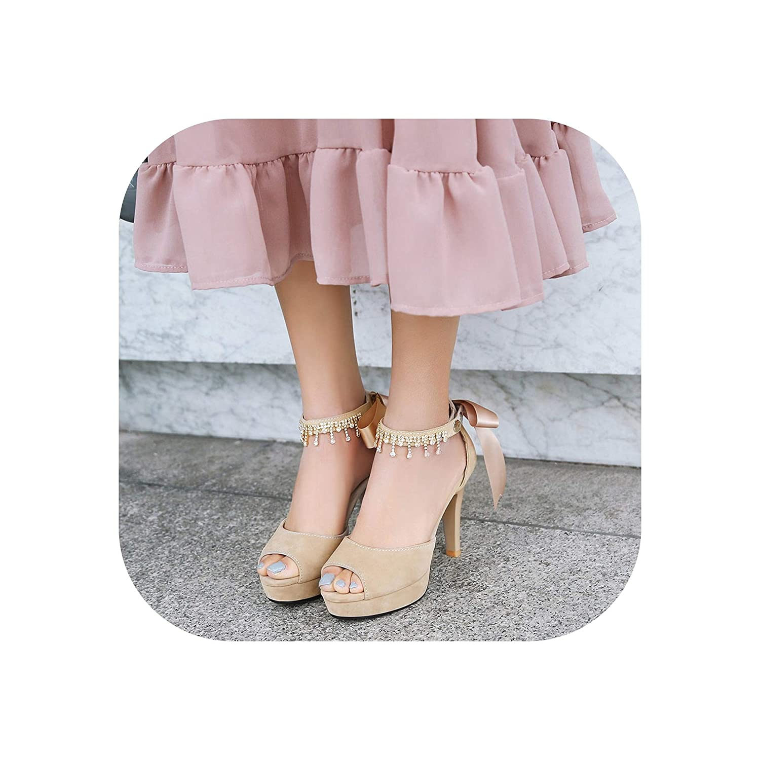 Apricot RuoYuan sandals Thick High Heels Ankle Strap shoes Woman High Heels Peep Toe Platform Women's shoes