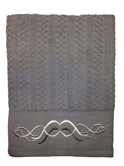 Toalla de rizo Nido de abeja 50x100cm 100%algodón 450gr/m2 y cenefa de jacquard color gris: Amazon.es: Hogar