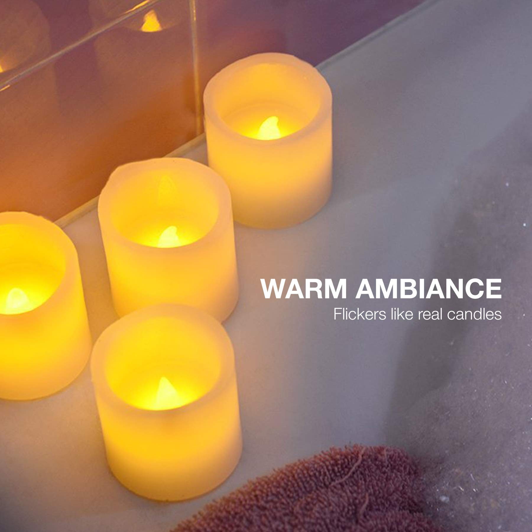 Vont Flameless LED Candles, Flickering, Battery Powered, Real Wax, Realistic Decor Unscented, 6 Pack, Yellow Light by Vont (Image #5)