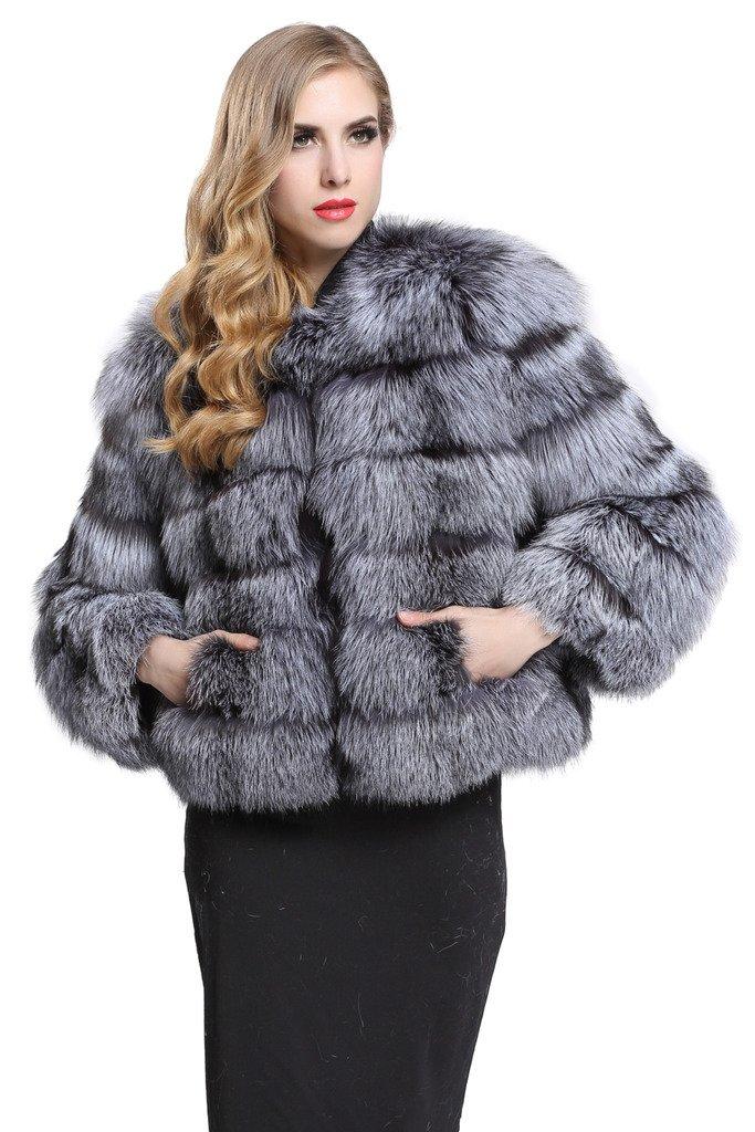 TOPFUR Women's Coat Whole Silver Fox Skin Fur Outerwear Luxury Overcoat(US 8)