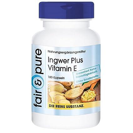 180 cápsulas -Vegano- de jengibre con vitamina E - Sustancia pura y sin aditivos
