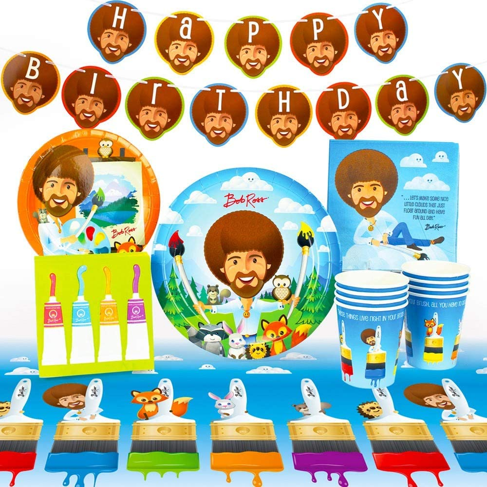 Bob Ross and Friends, Art & Painting Party Supplies (Standard) with Woodland Creatures, Birthday Party Theme, 66 Piece Kit