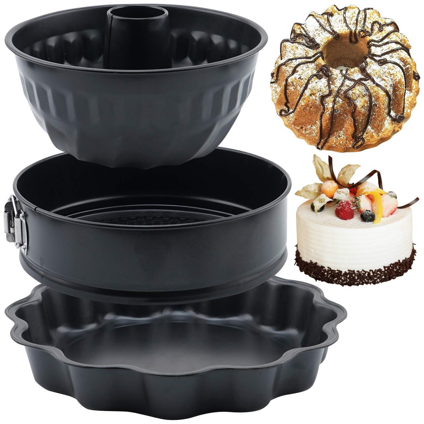 """12/"""" Flower Cake Pan 3pcs Premium Nonstick Cake Baking Mold Leakproof Cheesecake Bakeware Set Kugelhopf Pans for Wedding Birthday Party Christmas Holiday 9/"""" Round Springform Pan 8.7/"""" Bundt Pan"""