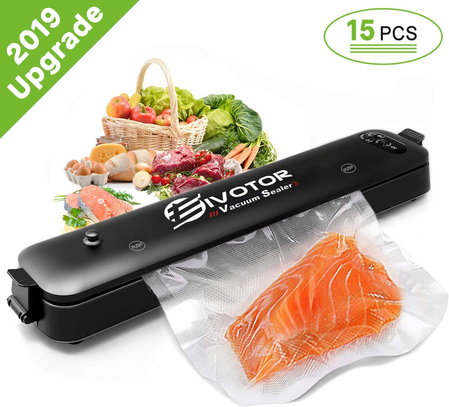 Food Vacuum Sealer Machine, EIVOTOR Sous Vide Vacuum Sealer Machine Automatic Multifunction Vacuum Sealing System for Food Savers, Dry Moist Sealing Mode, Led Lights, with 15pcs Vacuum Sealer Bags