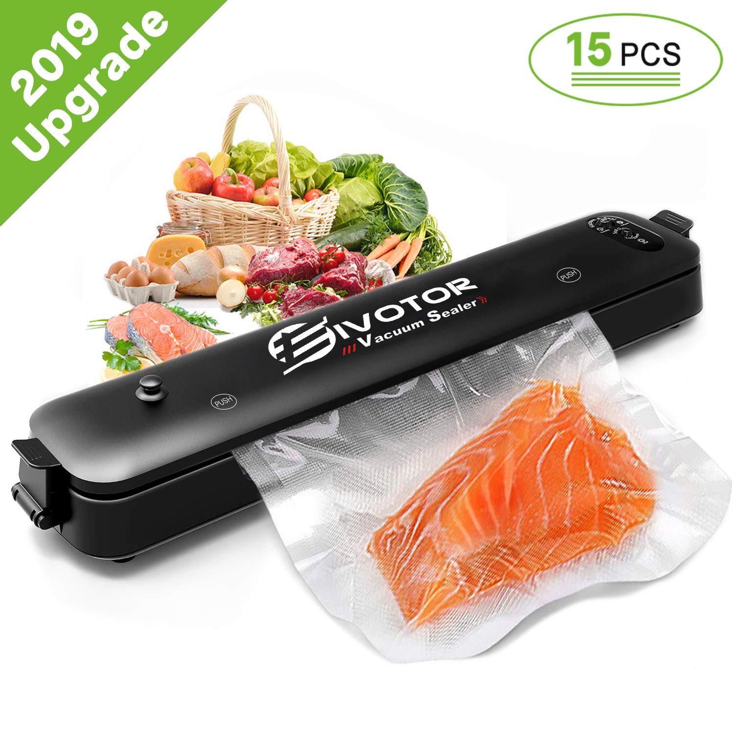 Food Vacuum Sealer Machine, EIVOTOR Sous Vide Vacuum Sealer Machine Automatic Multifunction Vacuum Sealing System for Food Savers, Dry & Moist Sealing Mode, Led Lights, with 15pcs Vacuum Sealer Bags by EIVOTOR