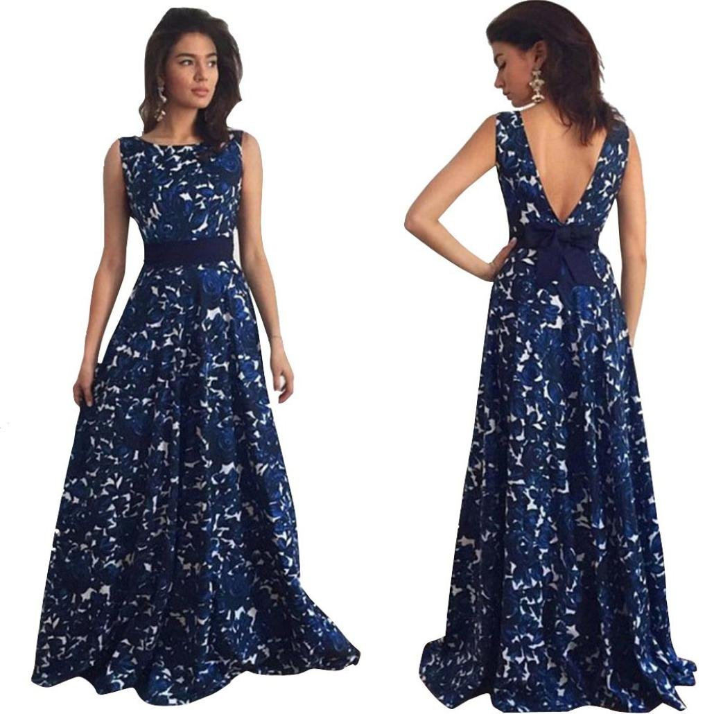 Minisoya Elegant Women Floral Formal Prom Dress Ball Gown Backless Evening Wedding Party Long Maxi Swing Dress (Blue, M)
