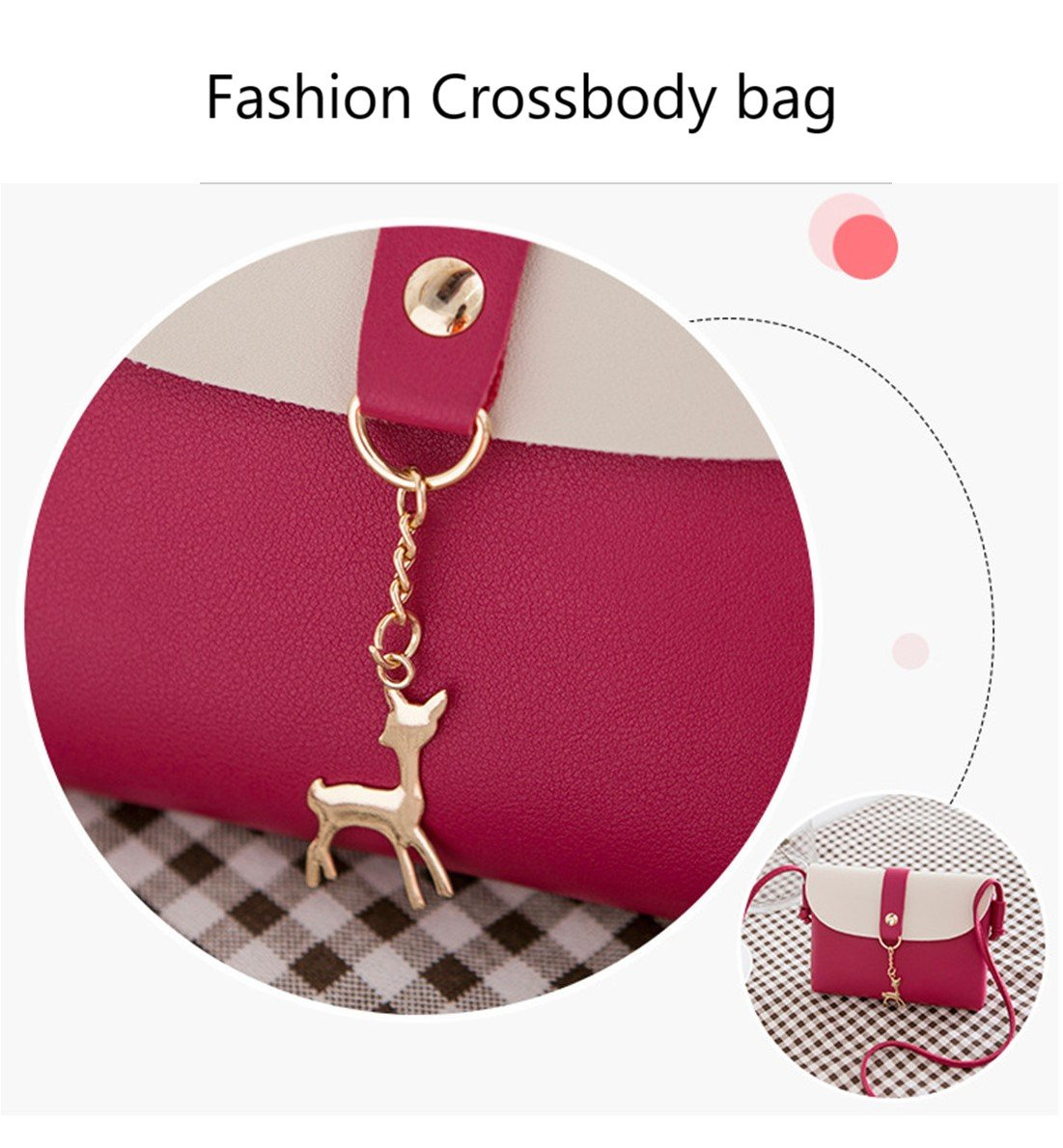 Small Crossbody Purse for Women With Pendant,PU Leather Crossbody Bag With Strap Cell Phone Bag for Girl,Red by Lanling (Image #4)