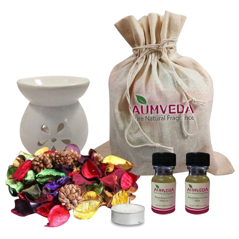 インドは、インドのお祝いディワリギフトパックDiya Diffuser、エッセンシャルオイル、香り付きドライフラワー 魅力的なポプリの花 B07GQS5D21