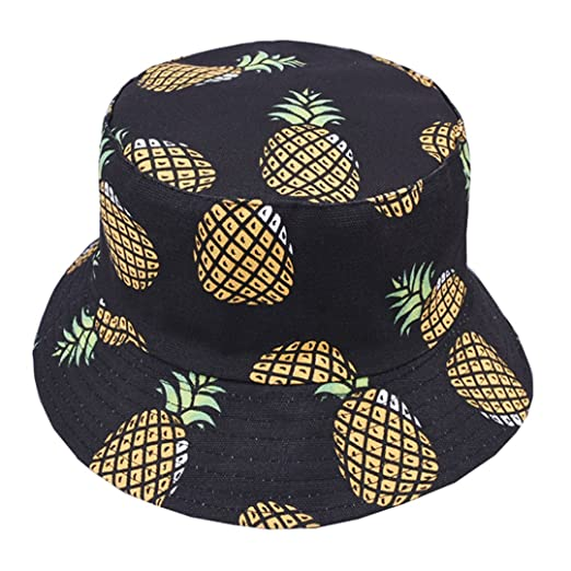 Joylife Unique Pineapple Pattern Bucket Hat Unisex Fruit Print Fisherman Cap  Summer Packable Reversible Sun Hat 7047e827ea8
