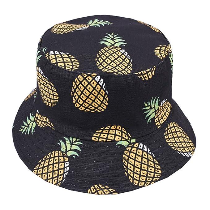 b9084b2dfb2 Joylife Unique Pineapple Pattern Bucket Hat Unisex Fruit Print Fisherman Cap  Summer Packable Reversible Sun Hat