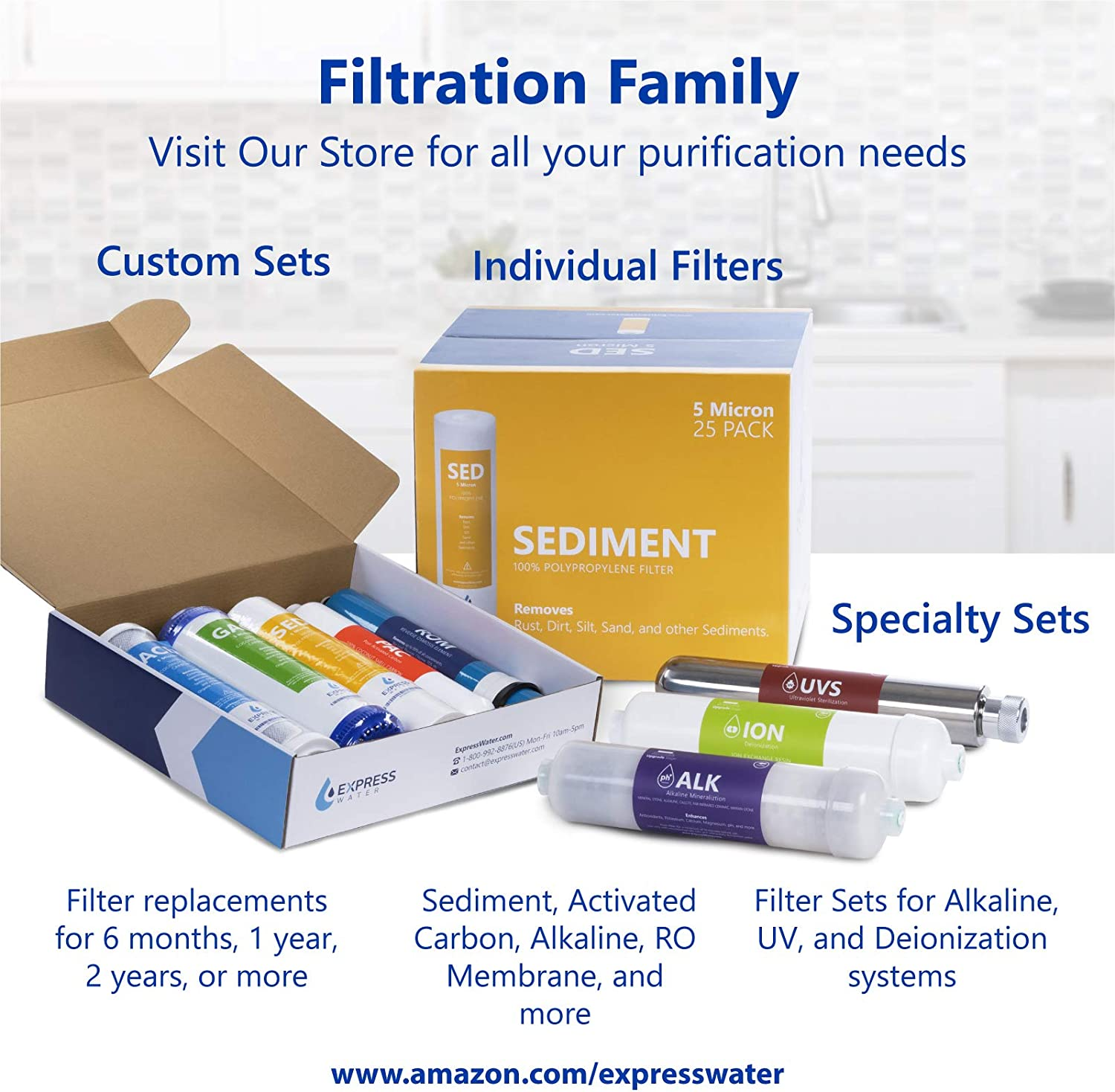 RO Membrane 50 GPD Water Filter Replacement Express Water 4 Pack Reverse Osmosis Membrane Under Sink and Reverse Osmosis System