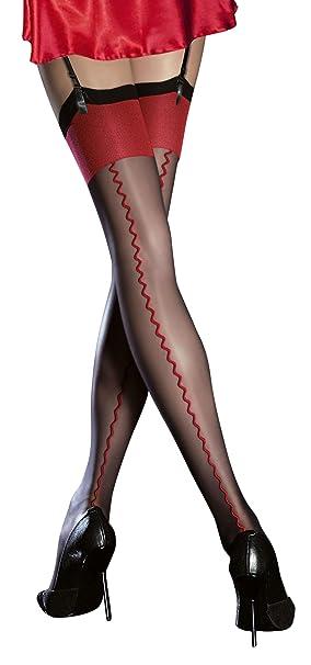 c0170b7d10 Fiore, autoreggenti eleganti super fini, spessore 20 denari, cucitura a  vista Black/Red S: Amazon.it: Abbigliamento