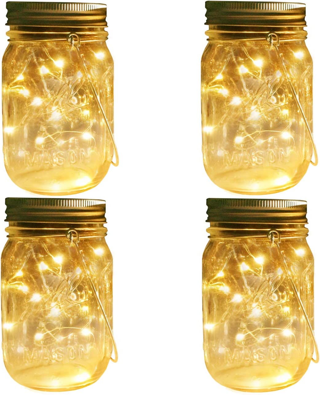 Mason Jar Solar Lights Lanterns, 4 Pack 30 LEDs Fairy Firefly Led String Lights with Glass Mason Jar,Best for Wedding Garden Patio Outdoor Solar Powered Hanging Lanterns Jars Hangers Included