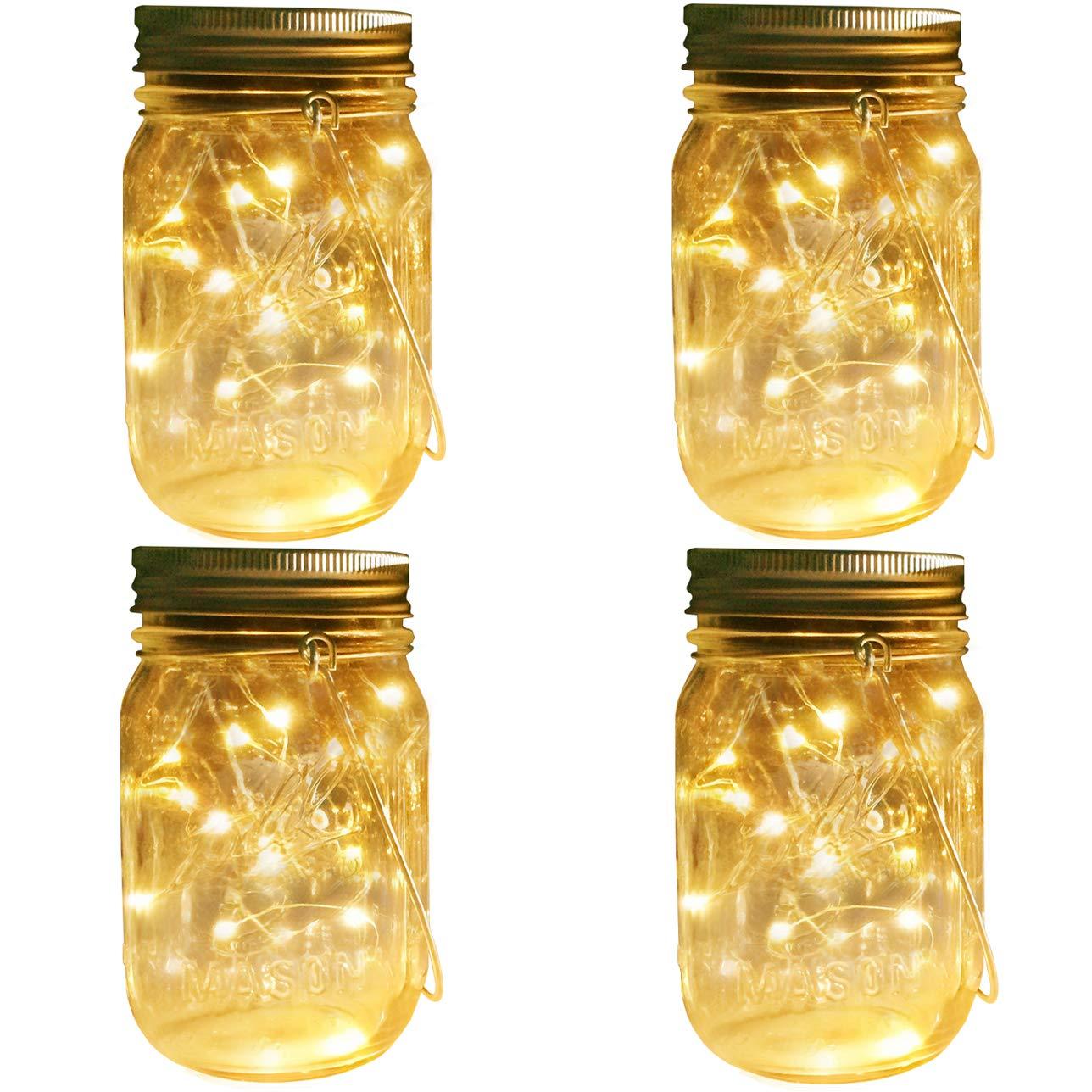 Mason Jar Solar Lights Lanterns, 4 Pack 30 LEDs Fairy Firefly Led String Lights with Glass Mason Jar,Best for Wedding Garden Patio Outdoor Solar Powered Hanging Lanterns(Jars & Hangers Included)