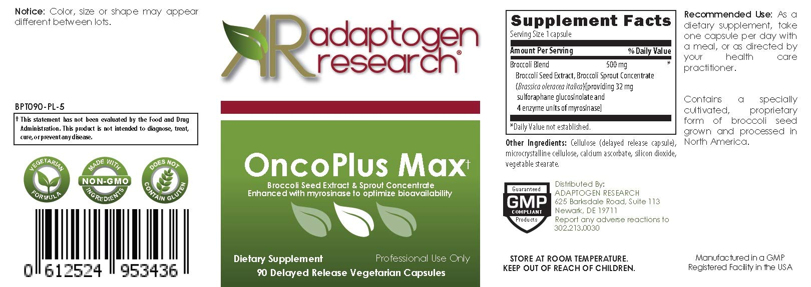 OncoPlus Max | 500mg Broccoli Seed Extract & Sprout Concentrate with Myrosinase Enzyme to Optimize Bioavailability | 8x Higher Sulforaphane BroccoRaphanin Potential | 90 DR VCaps | Adaptogen Research by Adaptogen Research (Image #2)