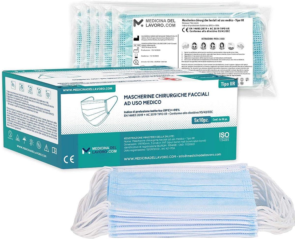 Mascarillas quirúrgicas para uso médico, certificación CE tipo IIR, alta eficiencia de filtrado BFE ≥98, mascarilla de 3 capas con elásticos, mascarilla protectora, 5 paquetes de 10 [Total 50 piezas]