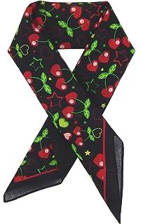 Ella Jonte FOULARD ÉCHARPE FEMME petit tendance by noir rouge vert avec  Design cœur et cerise bc4fa37f84f