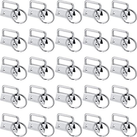 Goiio 30 Sets of 1 Inch Key Fob Hardware Key Chain Fob Wristlet Hardware with Key Ring for Lanyard