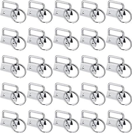 Key Fob Hardware Key Chain Fob Wristlet Hardware for Lanyard Ribbon Fabric Hand Craft 30 Pieces Metal Tail Clip Wristlet Black, Silver, Bronze Keychain Bracelet Hardware