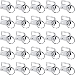 40 Pieces Key Fob Hardware Key Chain Fob Wristlet Hardware with Key Ring for Lanyard 1 Inch