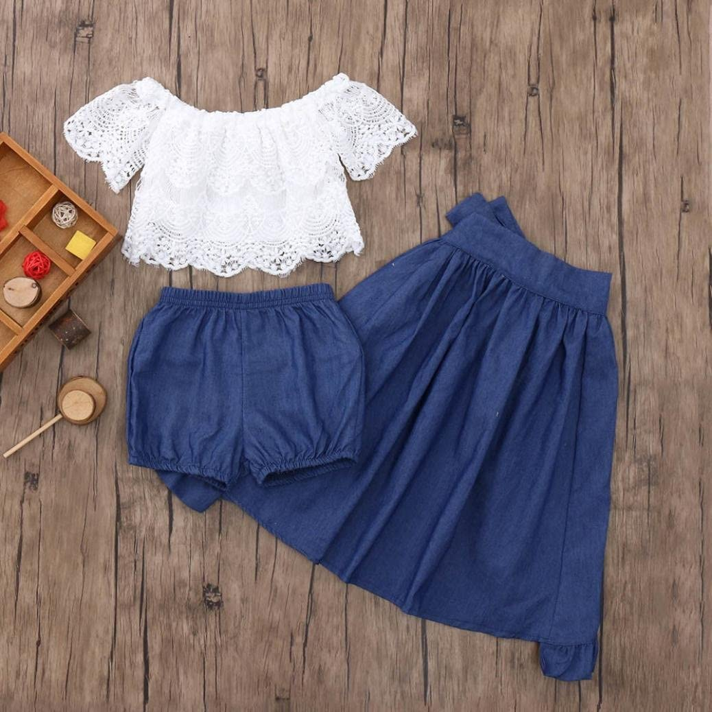 Fabal Baby Girls Beautiful Solid Ruffles Lace Tops Skirts Shorts Set 3Pcs Clothing Outfits Tops+Shorts+Skirts